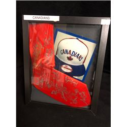 VANCOUVER CANADIANS TEAM SIGNED NECK TIE FRAMED DISPLAY