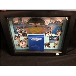 MATT STAIRS SIGNED TORONTO BLUE JAYS NECK TIE FRAMED DISPLAY w/ COA