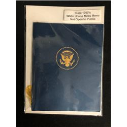 RARE 1990's WHITE HOUSE MESS MENU (NOT OPEN TO PUBLIC)
