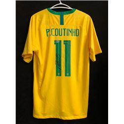 Philippe Coutinho Signed Brazil Jersey (Beckett COA)