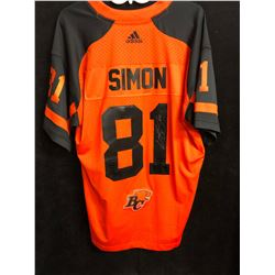 GEROY SIMON SIGNED ADIDAS BC LIONS FOOTBALL JERSEY