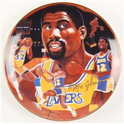 "LIMITED EDITION MAGIC JOHNSON SIGNED COMMEMORATIVE THE ""GOLDEN RIM"" COLLECTION PLATE"