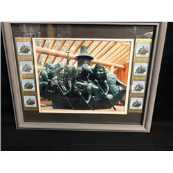 COLLECTIBLE FRAMED ART (90 CENT CANADIAN STAMPS...)