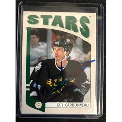 GUY CARBONNEAU SIGNED HOCKEY CARD