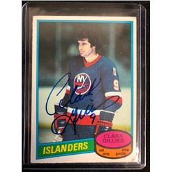CLARK GILLIES SIGNED HOCKEY CARD