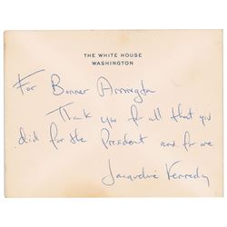 Jacqueline Kennedy Autograph Note Signed