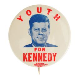 John F. Kennedy 1960 'Youth for Kennedy' Campaign Button