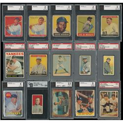 Exceptional Hall of Famer Graded Baseball Cards Collection (44) with Babe Ruth (3) and Mickey Mantle