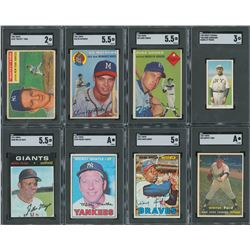 1909-1971 Topps and Others SGC Graded Baseball Card Collection (9)