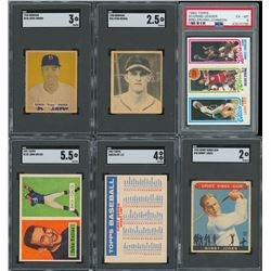 1930s-80s HOF Multi-Sport Card Lot with Rookie Cards including Johnny Unitas (6)
