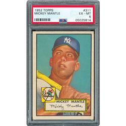 1952 Topps #311 Mickey Mantle Rookie Card - PSA EX-MT 6