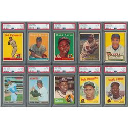 1952-1970 Topps PSA Graded Collection (14) with Ernie Banks RC