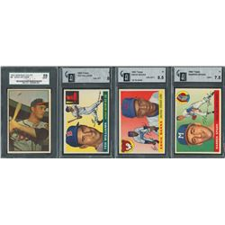 1953-1955 Topps and Bowman SGC and GAI Graded Hall of Famer Collection (4)
