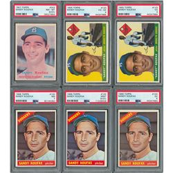 1955-1966 Sandy Koufax PSA Graded Collection with Two Rookie Cards (6)