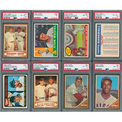 1957-1965 Topps Baseball PSA Graded Collection (8) with two Mantle Cards