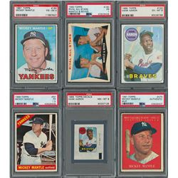 1960s Mickey Mantle and Hank Aaron PSA Graded Collection (6)