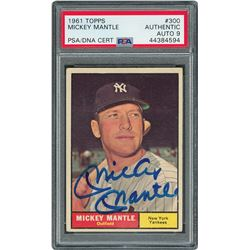 1961 Topps #300 Mickey Mantle Signed Card - PSA/DNA