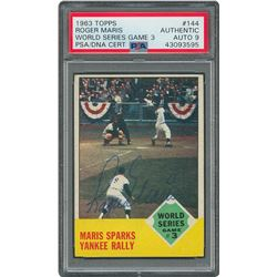 1963 Topps #144 Roger Maris World Series Game 3 Autographed Card - PSA/DNA MINT 9