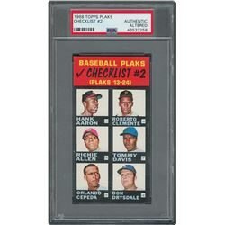 1968 Topps Plaks Checklist #2 with Aaron, Clemente, Mays, and Rose- PSA AUTHENTIC
