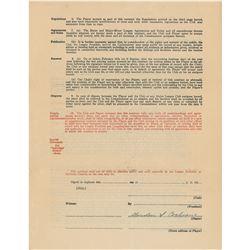 Mickey Cochrane 1930 Philadelphia Athletics Signed Player Contract