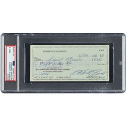 Roberto Clemente 1972 Signed Personal Check (Last Season) - PSA/DNA MINT 9