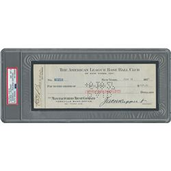 Lou Gehrig Signed 1927 New York Yankees Payroll Check - PSA/DNA NM-MT 8