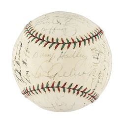 New York Yankees 1936 World Series Champions Team Signed Baseball with Gehrig and DiMaggio