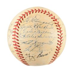 New York Yankees 1952 World Series Champions Team Signed Baseball with 25 signatures