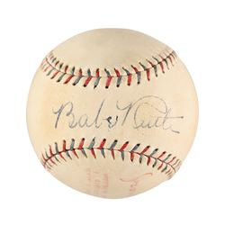 "Spectacular Babe Ruth Single Signed Official A.L. Barnard Baseball -  PSA/DNA ""NM/MT 8"" LOA & FULL J"