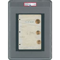 Babe Ruth, Ty Cobb, and Walter Johnson Signed Album Page