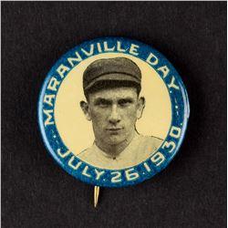 1930 Rabbit Maranville Day Pinback - VERY HIGH GRADE