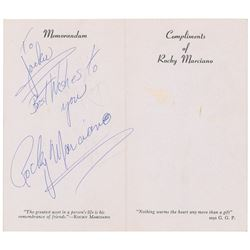 Rocky Marciano Signed Compliments Card