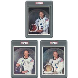 Apollo 11 Group of (3) Signed Photographs