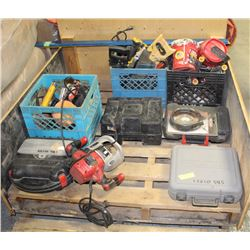 PALLET OF TOOLS INCLUDING DREMEL, SKIL, DEWALT