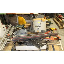 PALLET INCLUDING RIDGID VACUUM, YARD TOOLS AND