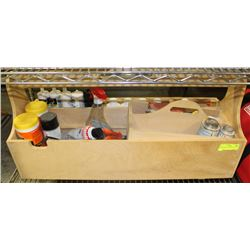WOOD TOOL BOX WITH TOOLS & SEALERS