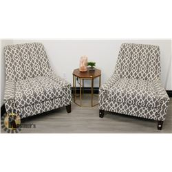 TWO COMFORTABLE NAIL HEAD WAITING ROOM CHAIRS,