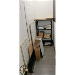 BUNDLE OF WHITE BOARDS, PLASTIC SHELVING,