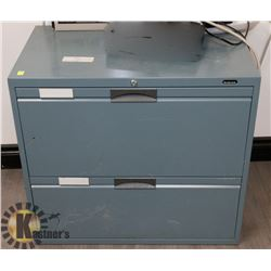 BLUE TWO DRAWER METAL FILING CABINET