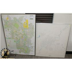 TWO FRAMED CITY MAPS, EDMONTON 1982 AND