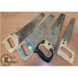 LOT OF 4 HAND SAWS