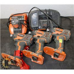 THREE RIDGID IMPACT DRILLS WITH CHARGER,