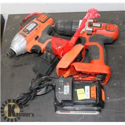 TWO BLACK AND DECKER DRILLS WITH ONE