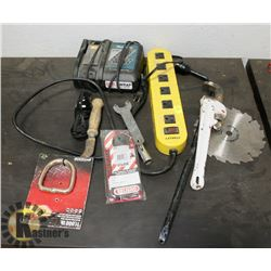 BUNDLE OF MISC TOOLS WITH MAKITA FAST BATTERY