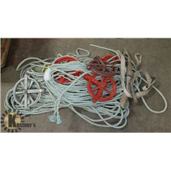 LARGE LOT OF ROPES AND PULLEYS