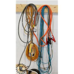 BUNDLE OF EXTENSION CORDS, JUMPER CABLES