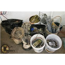LARGE LOT OF ROPE, CABLE, BAGS,