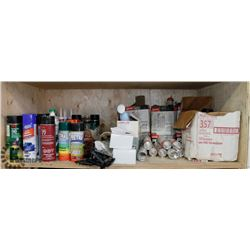 SHELF WITH CLEANERS, PAINTS, SEALANTS,