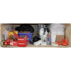 SHELF WITH FASTENERS, WHEEL CHOCKS,