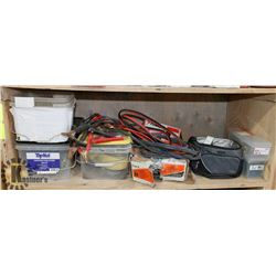 SHELF WITH FASTENERS, JUMPER CABLES,